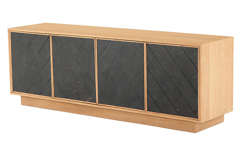 Darren Chevron Media Console, Honey Oak