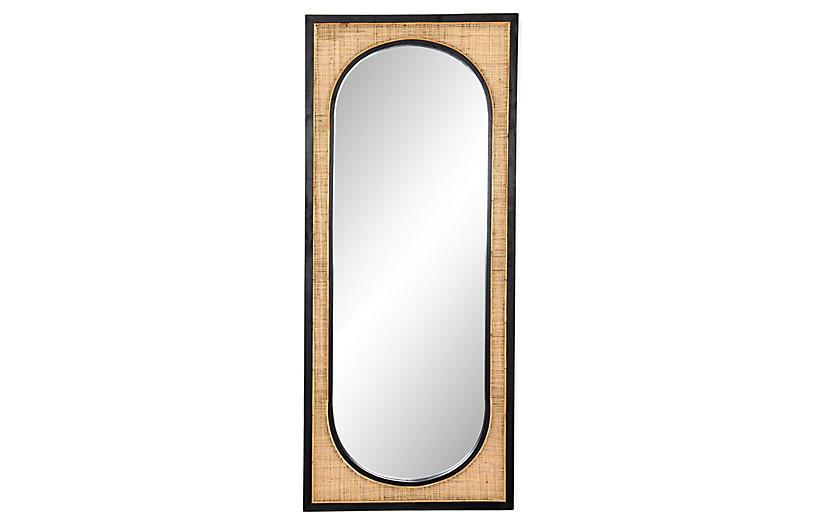 Gideon Rattan Floor Mirror, Wheat/Black
