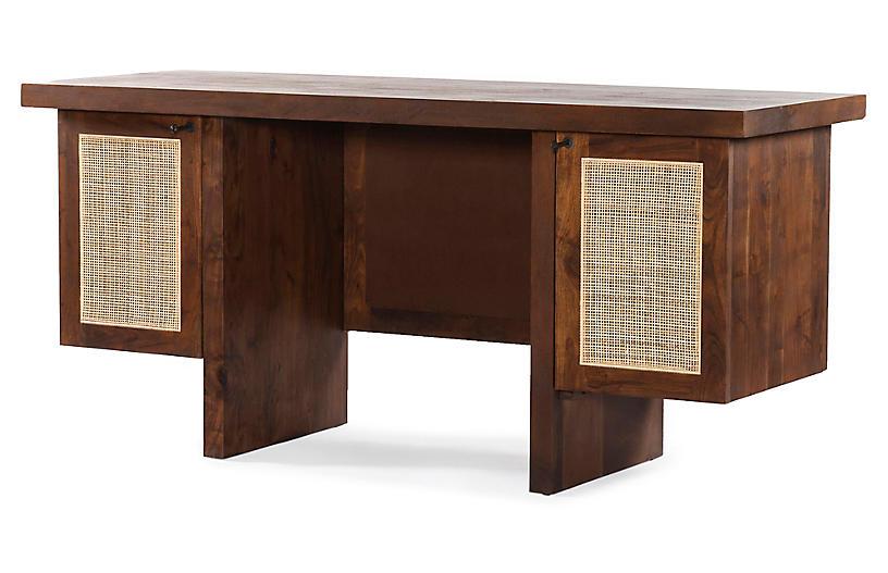 Kate Cane Desk, Toasted Acacia