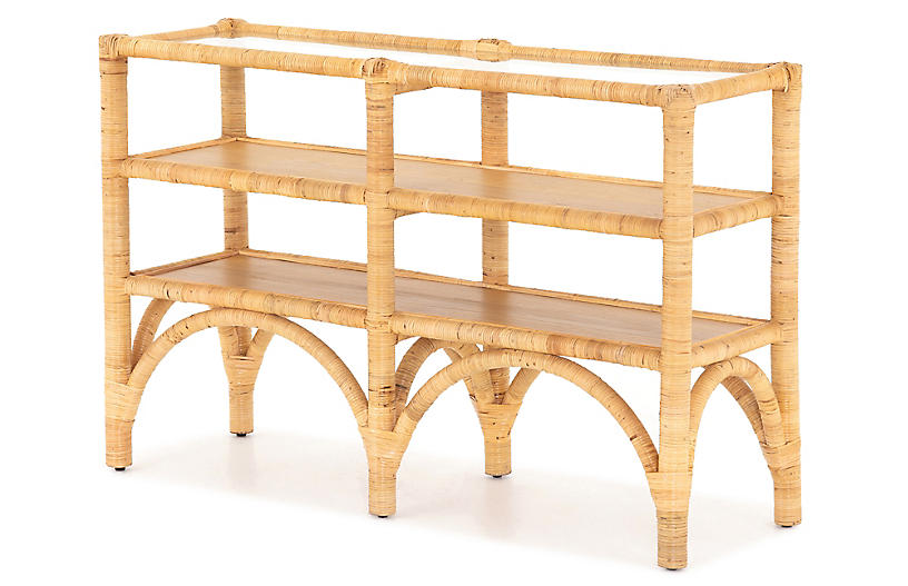Lina Console Table, Wrapped Honey Rattan