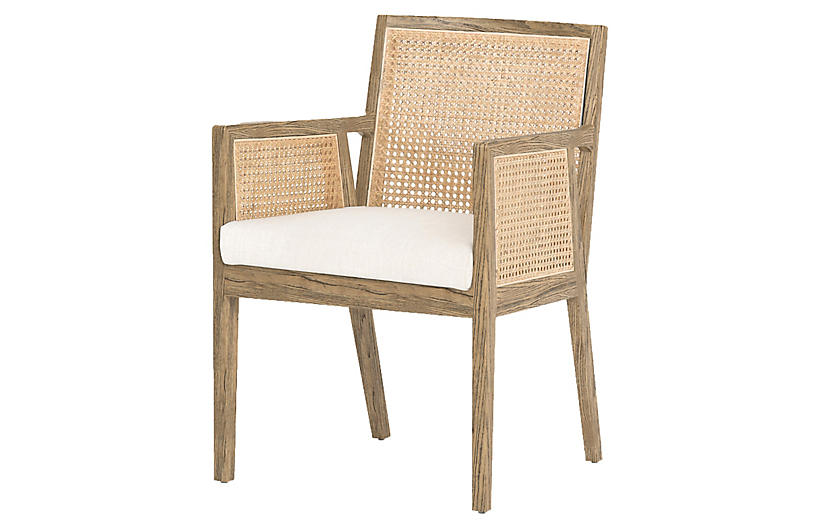 Aimee Cane Arm Chair, Savile Flax