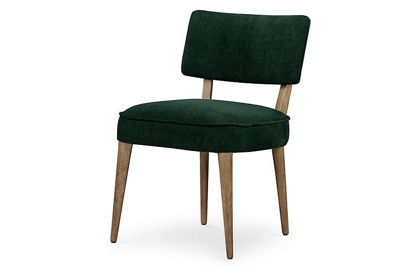 Braxton Velvet Dining Chair, Emerald