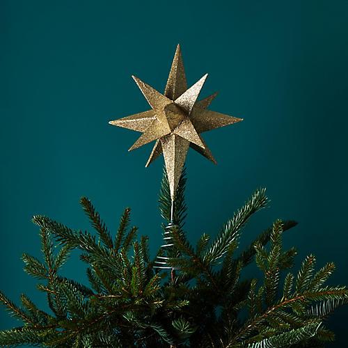 "14"" Moravian Star Tree Topper, Gold"