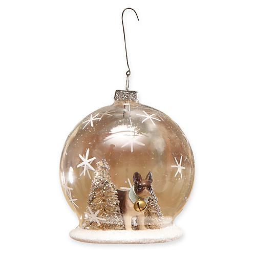 "4"" French Bulldog Globe Ornament, Gold/Multi"