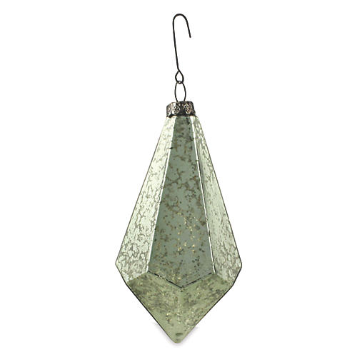 Geometric Teardrop Wide Ornament, Aqua