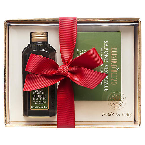 Shower Bath & Soap Set, Olive Complex