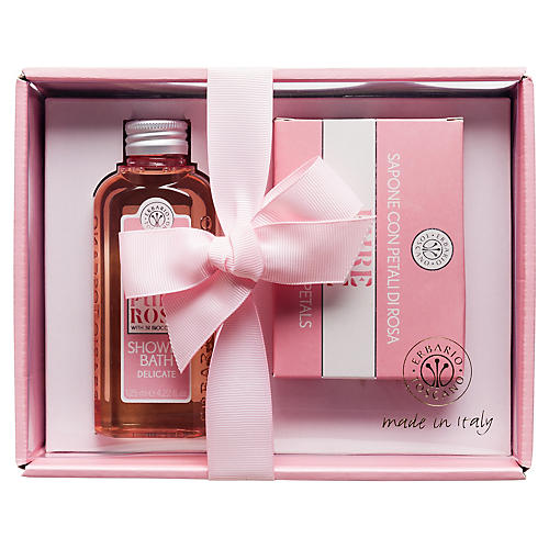 Pure Rose Shower Bath and Soap Set, Pink/White