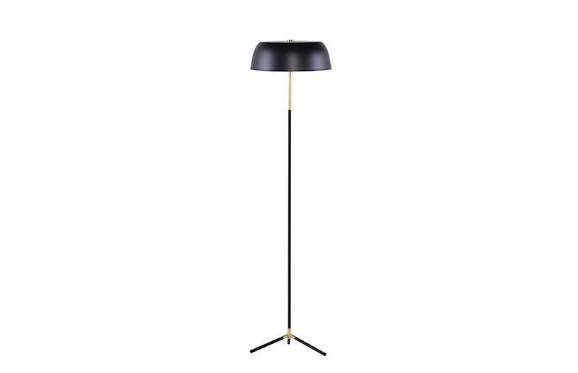 Tipton Floor Lamp, Black/Brass