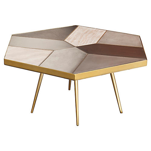 Giselle Coffee Table, Gray/Multi