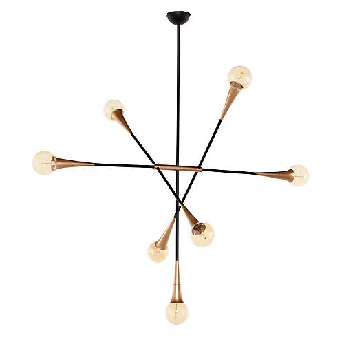 Watley 7-Light Chandelier, Brass/Black