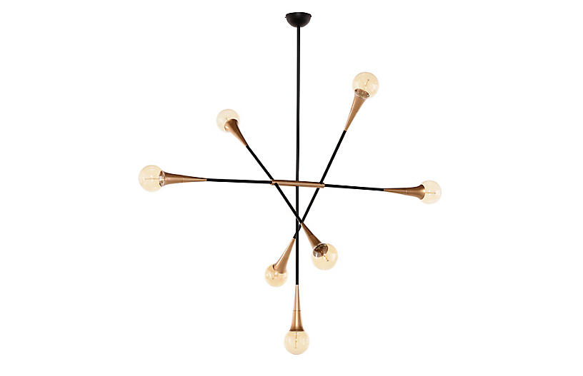 Watley 7-Light Chandelier, Brass/Black