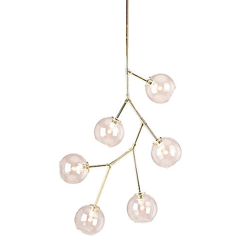 Neutron 6-Light Chandelier, Polished Gold