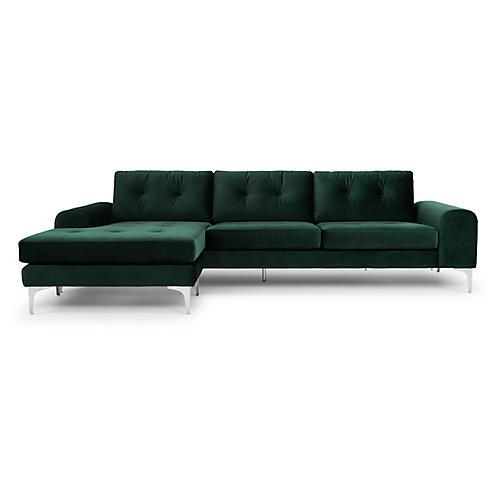 Colyn Sectional, Emerald Velvet