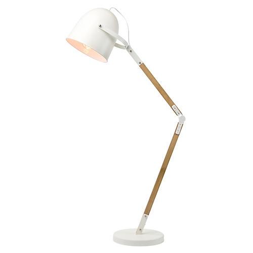 Deane Floor Lamp, White/Natural