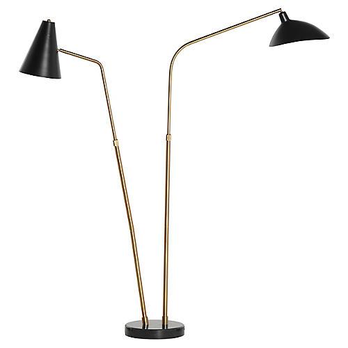 Foster Floor Lamp, Black/Brass