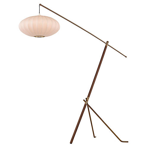 Ashton Adjustable Floor Lamp, Walnut/Brass