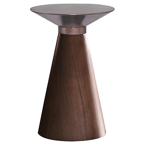 Iris Side Table, Copper/Walnut