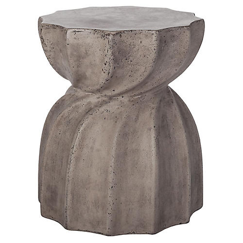 Sia Swirl Concrete Side Table, Gray