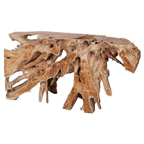 Berta Teak Root Console Table, Natural