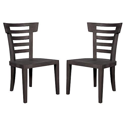 S/2 Bear Teak Side Chairs, Antique Smoke