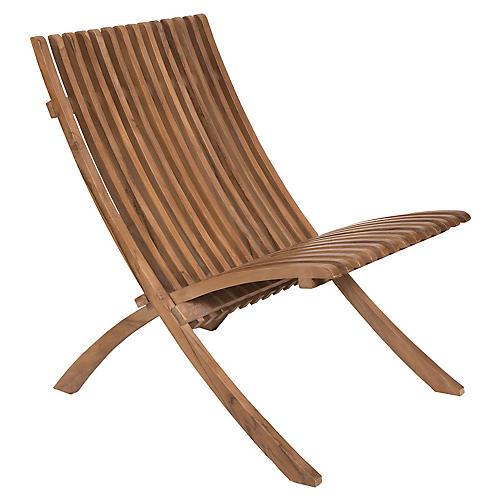 Bear Valley Teak Folding Chair, Natural