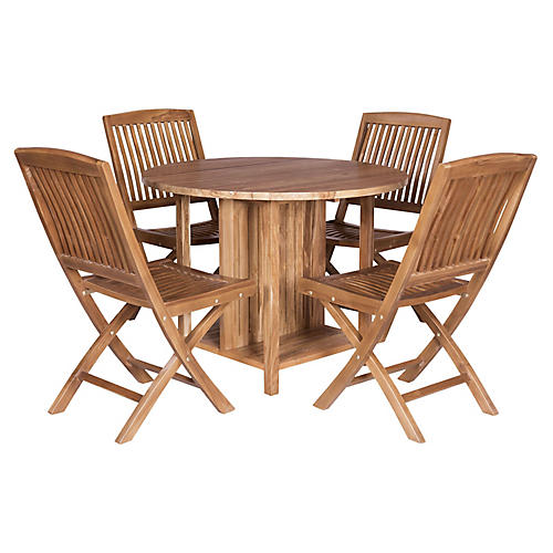 Sun Peaks Teak 5-pc Dining Set, Natural