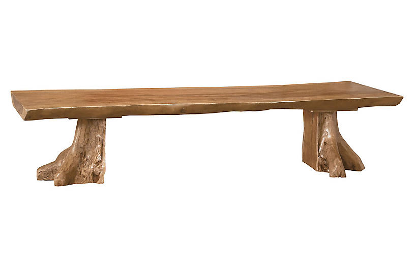 Okemo Teak Bench, Natural