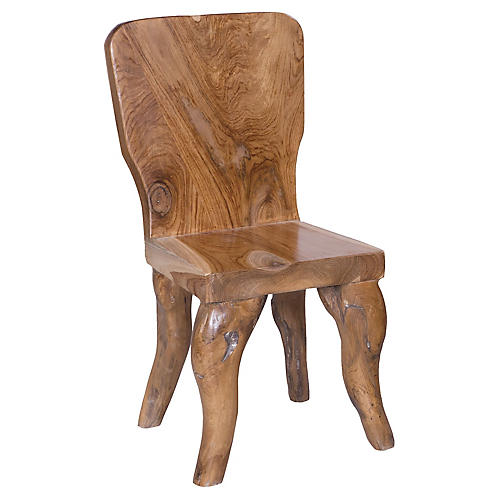 Arlo Rustic Teak Side Chair, Natural