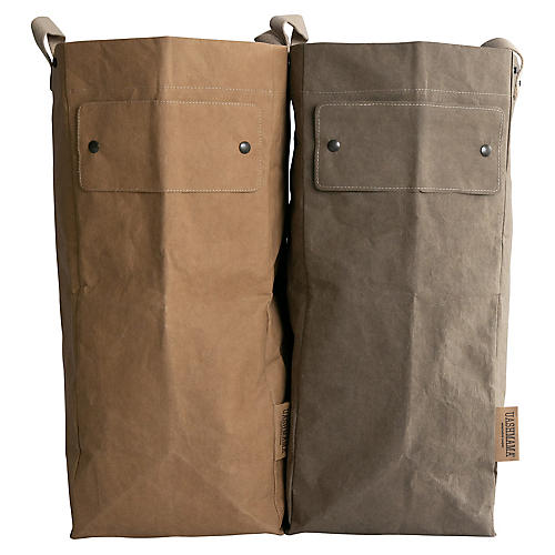 "S/2 ""Writable"" Laundry Bags, Copper/Olive"