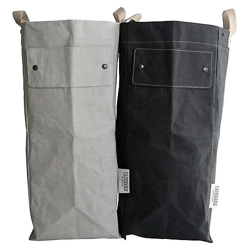 "S/2 ""Writable"" Laundry Bags, Gray/Black"