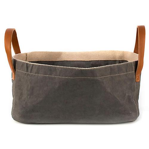 "15"" Vassoio Bin w/ Leather Handles, Dark Gray"