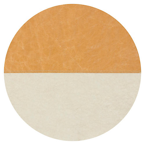 Spezzato Round Place Mat, Camel/Natural