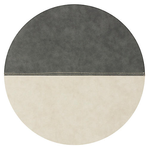 Spezzato Round Place Mat, Dark Gray/Natural