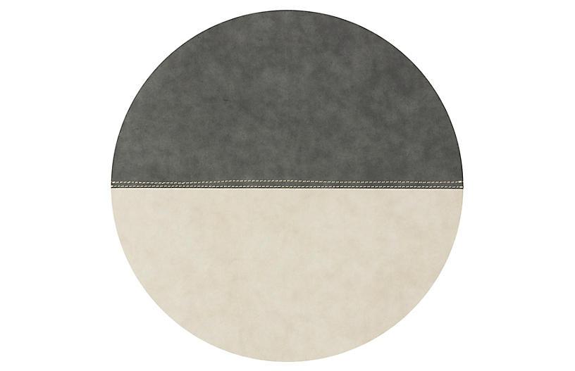 Spezzato Round Place Mat, Dark Gray/Natural