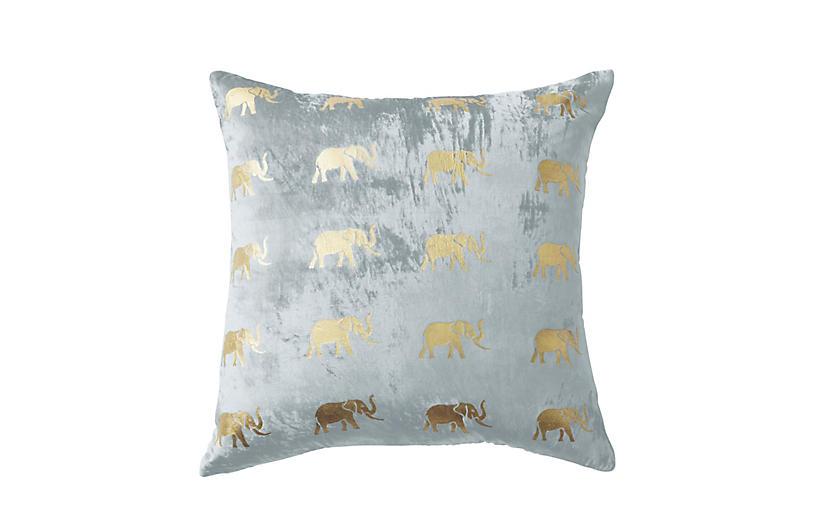 Meru 22x22 Pillow, Gray Velvet