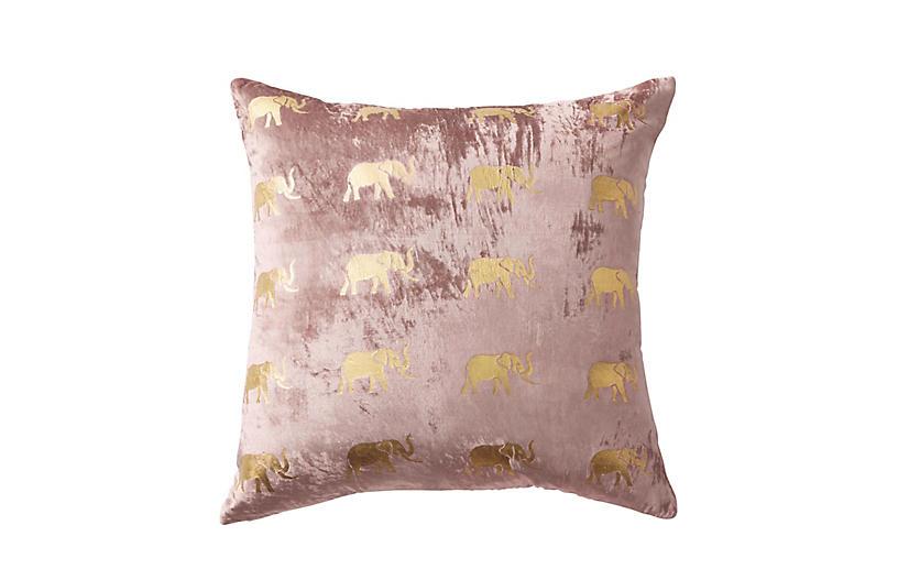 Meru 22x22 Pillow, Dusty Pink Velvet