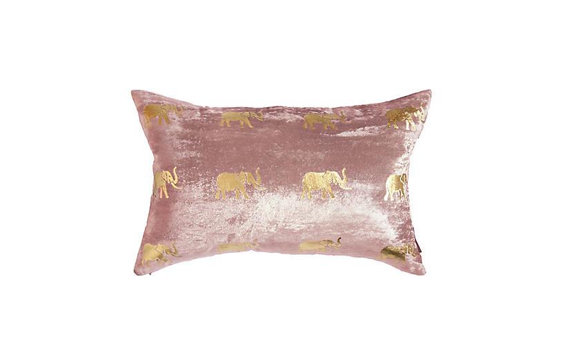 Meru 14x22 Lumbar Pillow, Dusty Pink Velvet