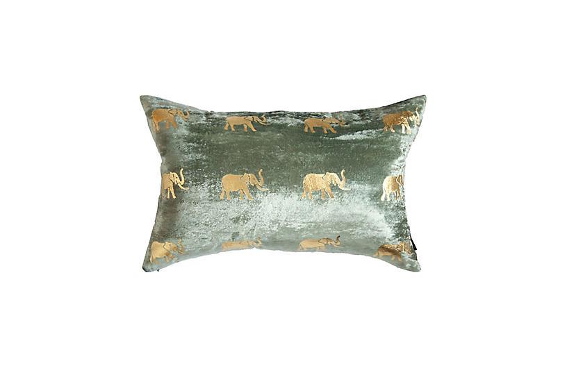 Meru 14x22 Lumbar Pillow, Seafoam Velvet