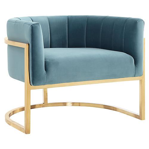 Tondela Accent Chair, Sea Blue Velvet