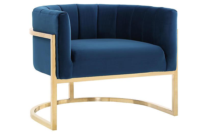 Tondela Accent Chair, Navy Velvet