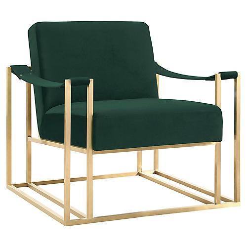 Ovar Accent Chair, Forest Green Velvet