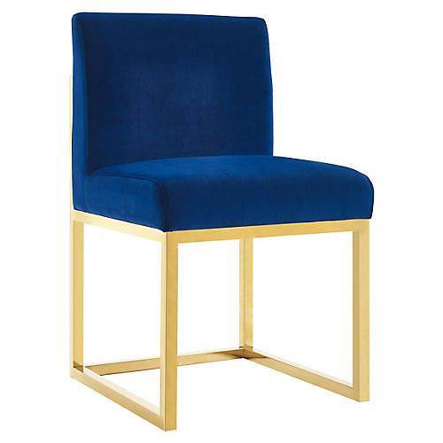 Alfena Side Chair, Navy Velvet