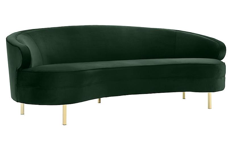 Barcelos Sofa, Green Velvet