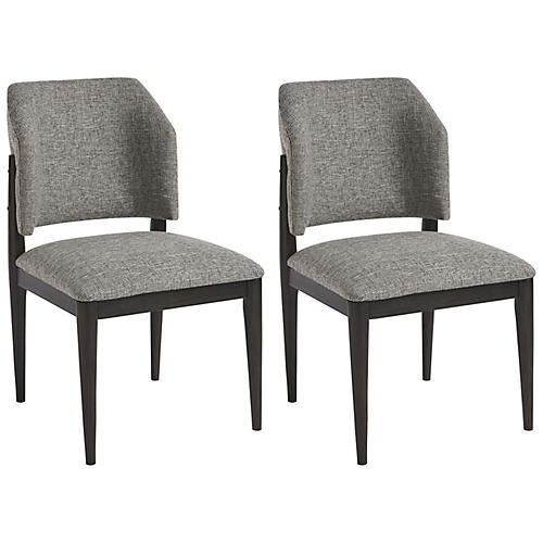 S/2 Evan Barrel Side Chairs, Gray