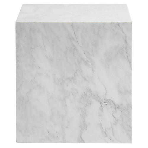 Colfax Side Table, White Marble