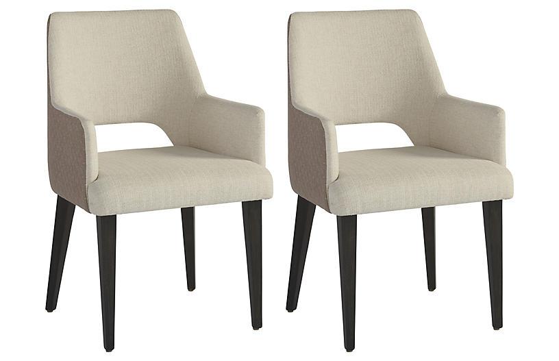 S/2 Tatum Armchairs, Cream