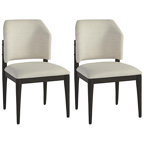 S/2 Evan Barrel Side Chairs, Cream
