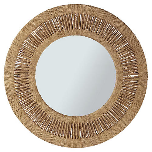 Ridley Round Mirror, Tan