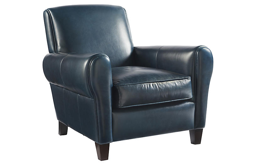 Coastal Living Myrtle Accent Chair, Admiral Blue Leather