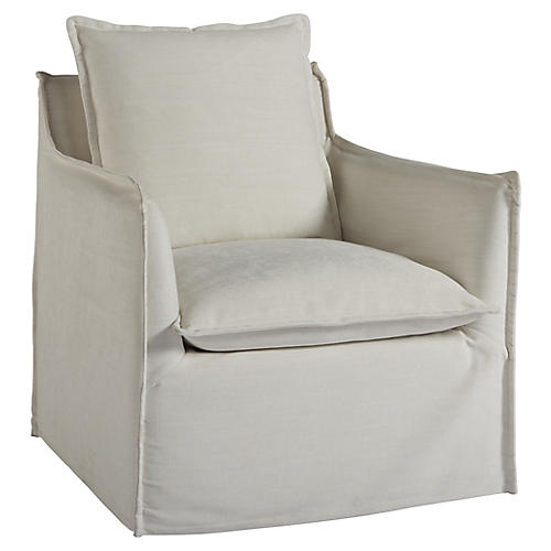 Edmonds Slipcover Swivel Chair, Natural Crypton